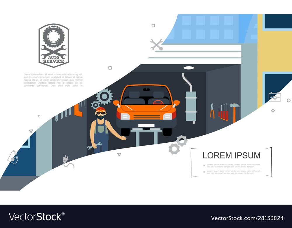 Met Parking Services >> Flat Car Repair Service Concept