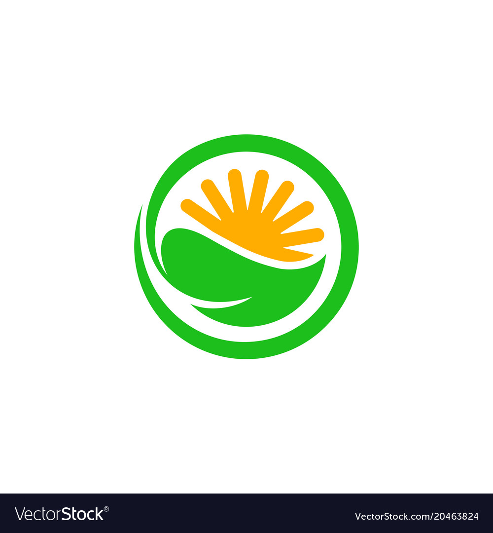 Green Circle With Leaf And Half Sun Inside It Vector Image
