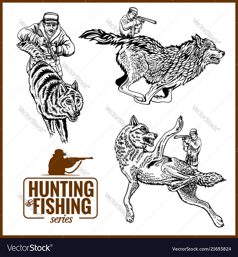 Guns and wolf hunting banner in vintage style