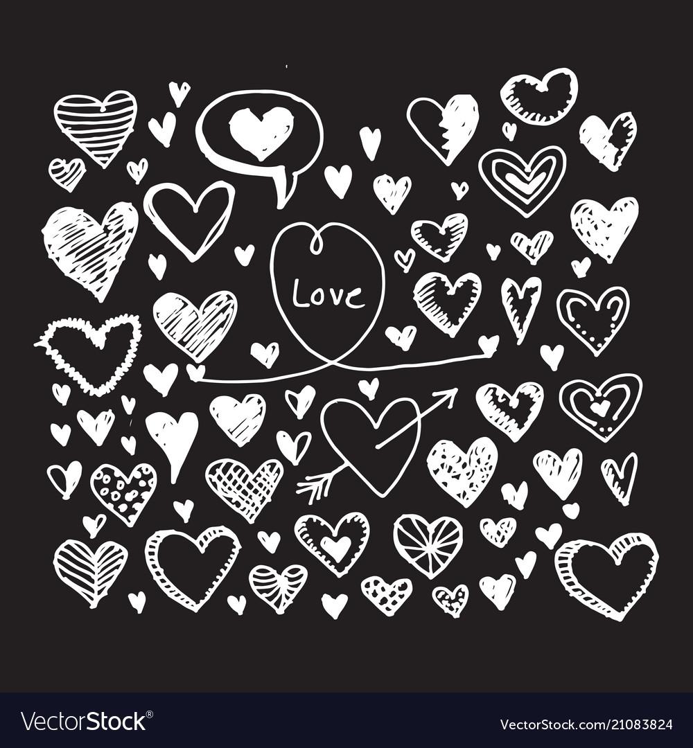 Hearts icon set hand drawn