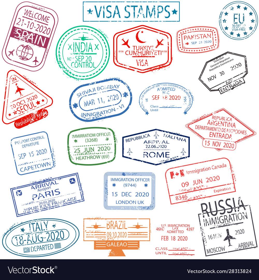 Set arrival and departure visa stamps