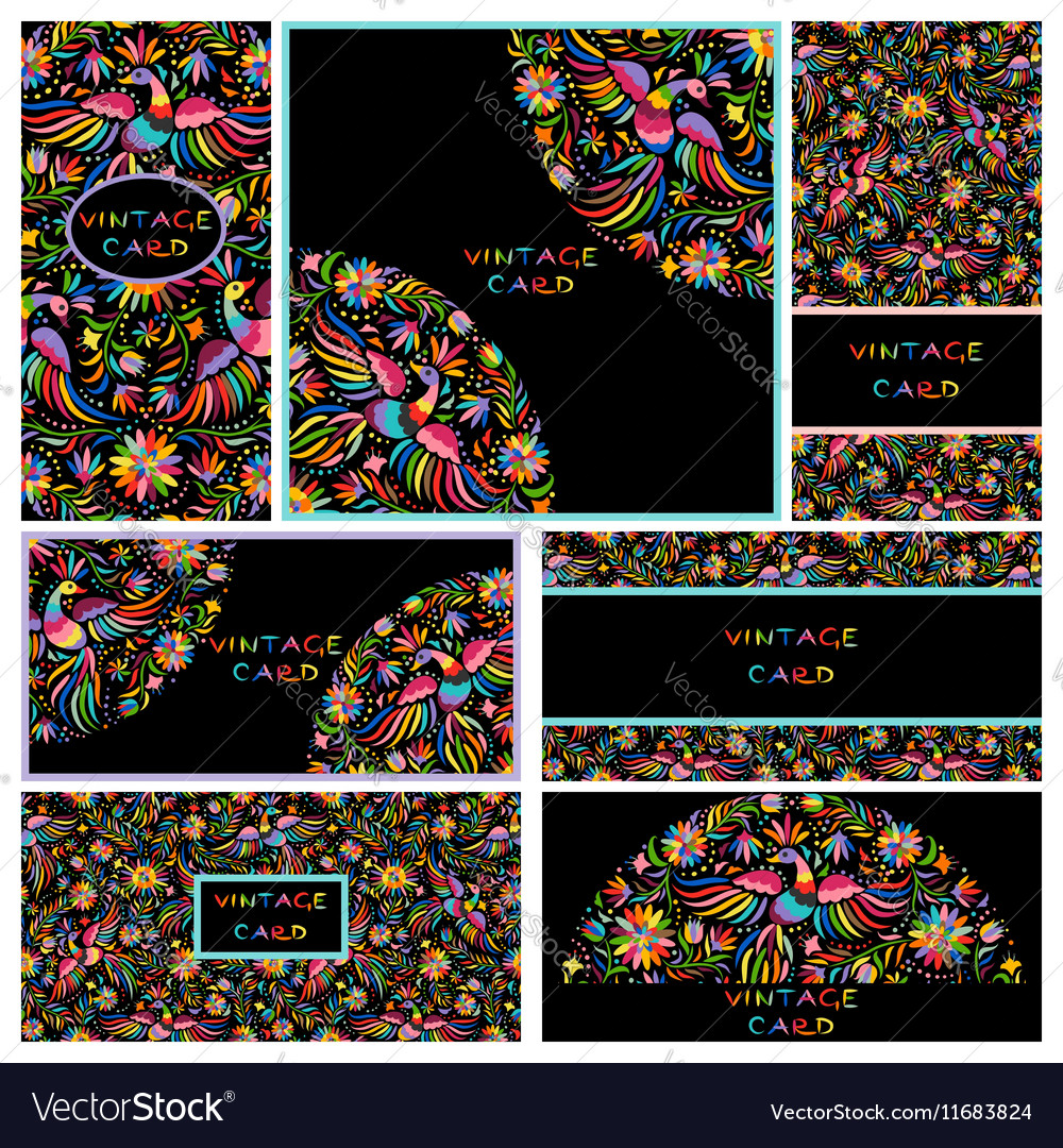 Set black business cards with Floral Mexican vector image