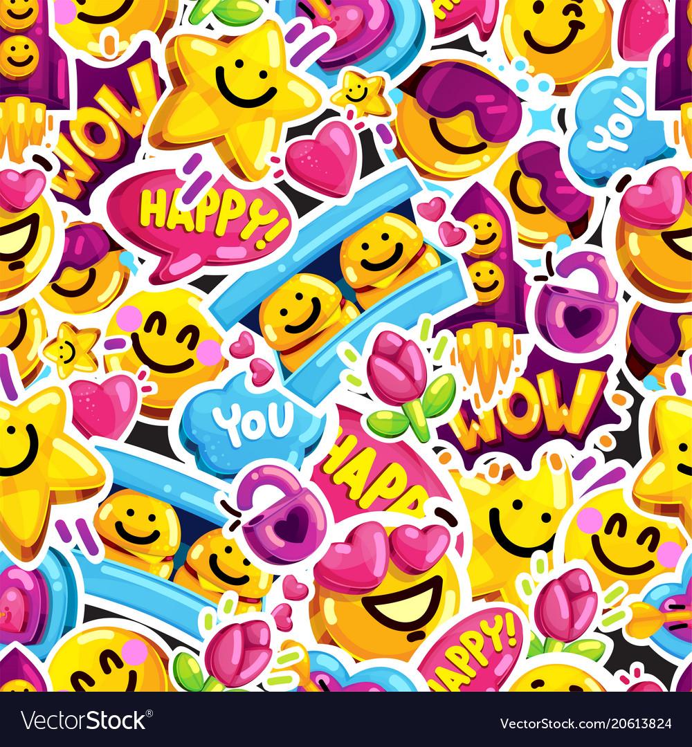 Smiley faces sticker emoji love seamless pattern vector image