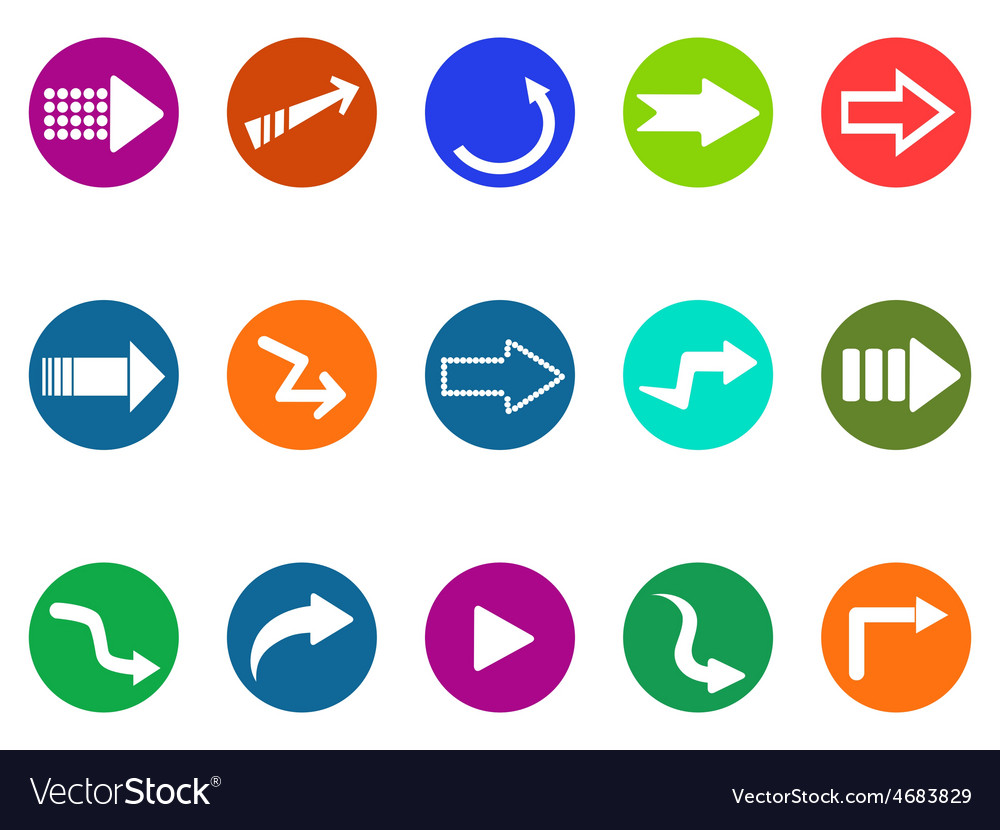 Arrow sign circle button icons set