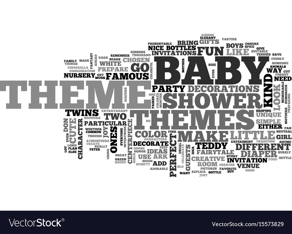 Baby shower themes text word cloud concept vector image
