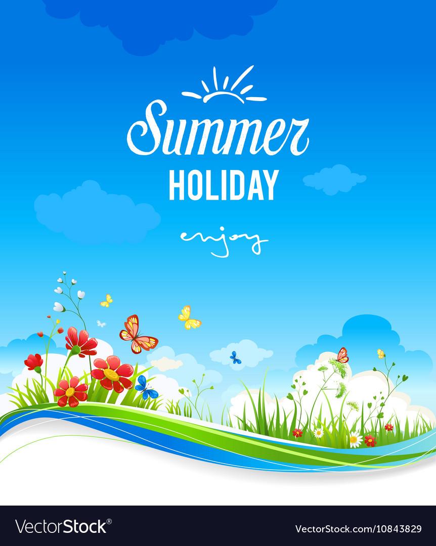 Beautiful summer scenery with flowers royalty free vector beautiful summer scenery with flowers vector image izmirmasajfo