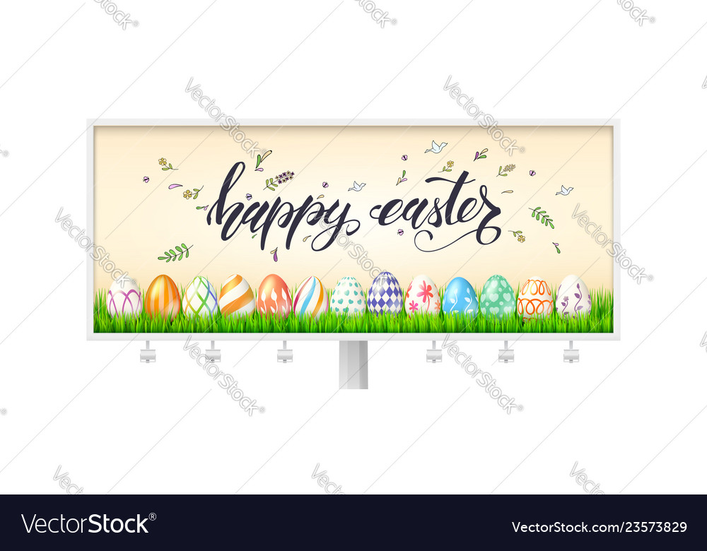 Billboard for happy easter holidays decorated