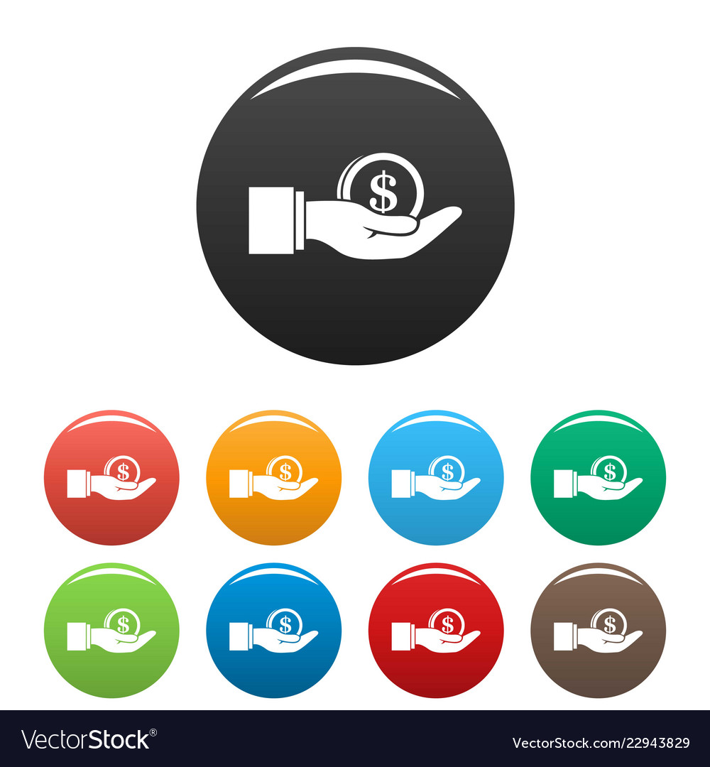 Bribery money coin icons set color