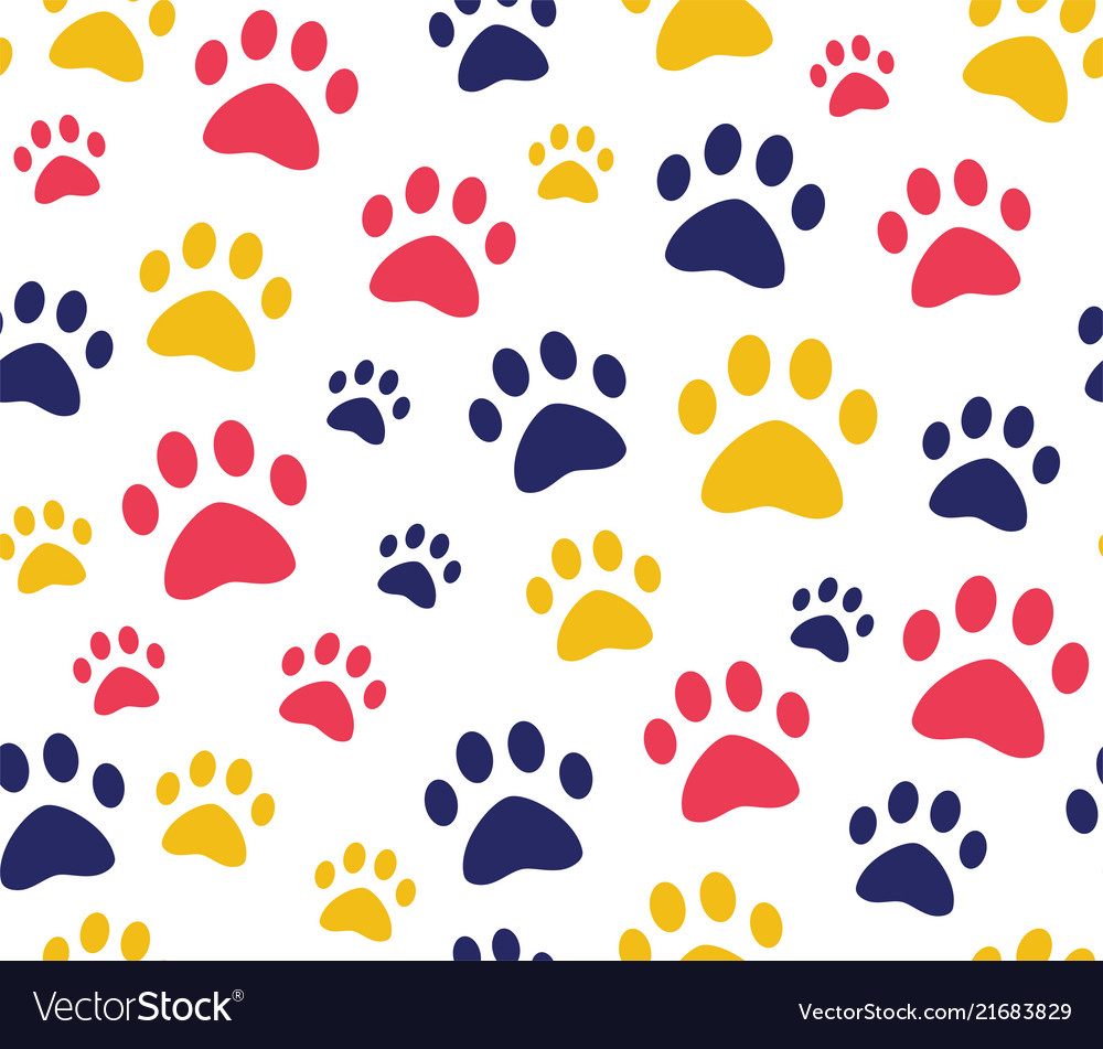 Cat or dog paw seamless patterns backgrounds for
