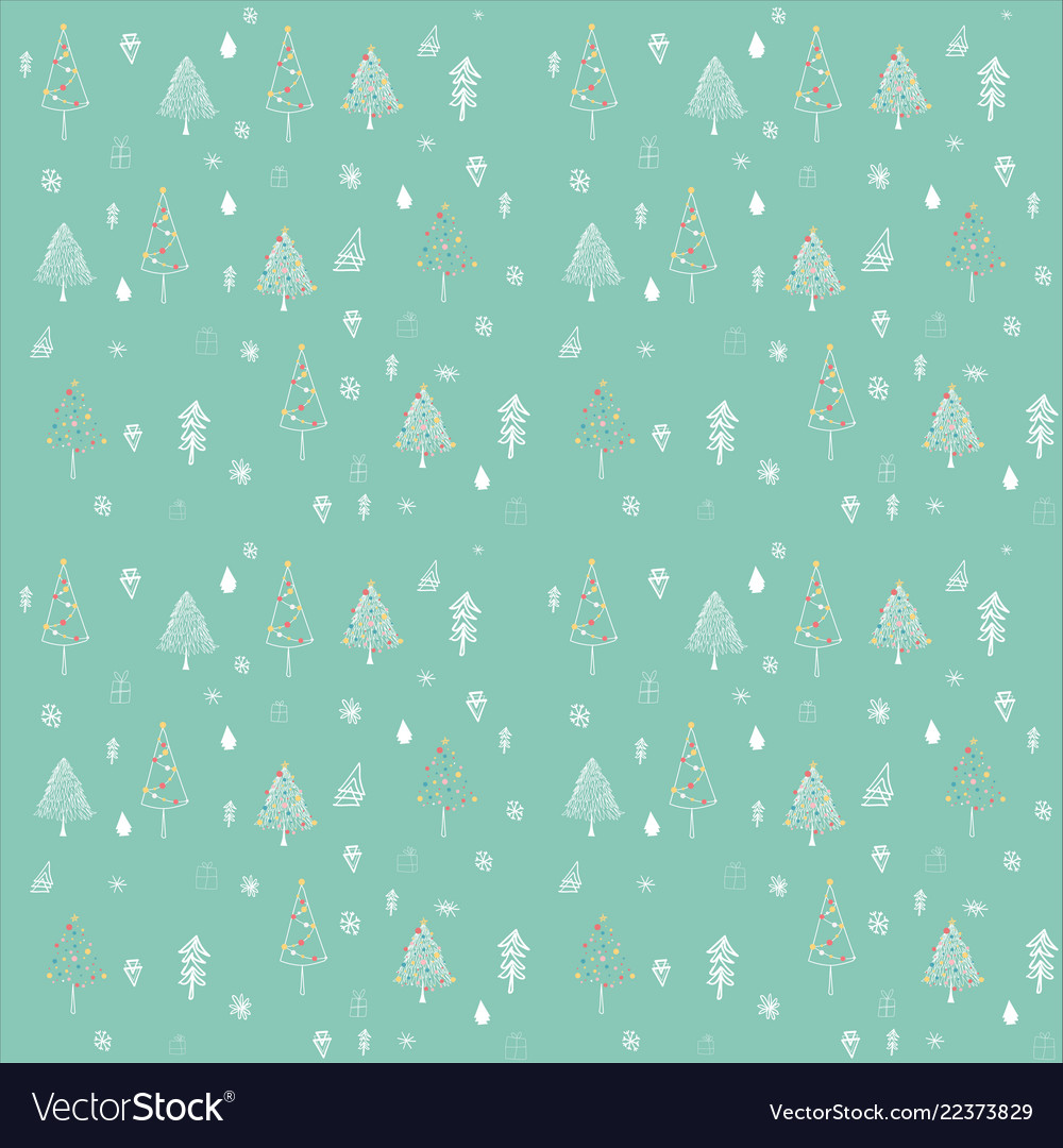 Christmas tree outline seamless pattern