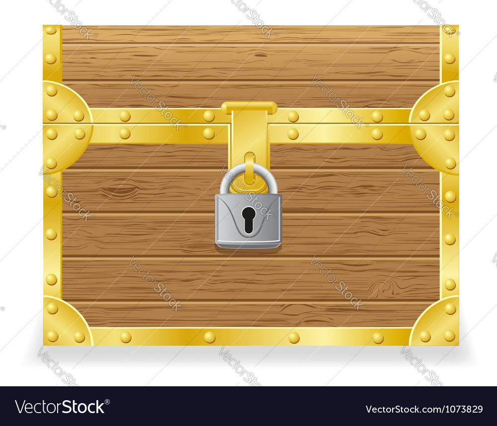 Closed antique chest vector image