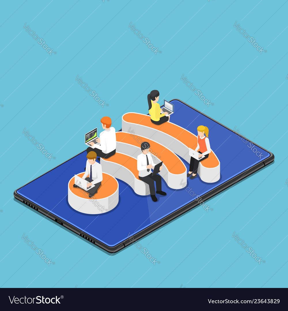 Isometric busienss people with laptops working