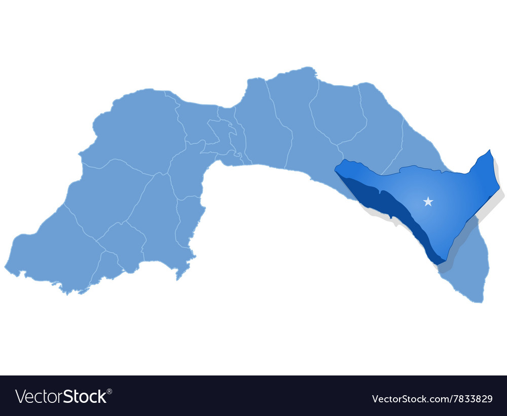 Map of Antalya - Alanya is pulled out vector image
