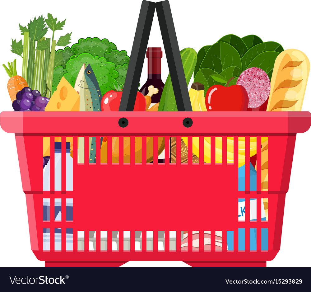 Paper shopping bag full of groceries products