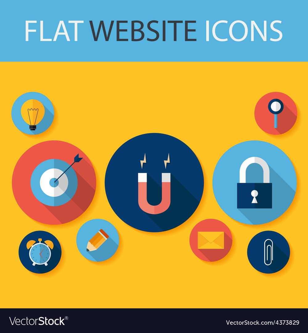 Set of Five Flat Circle Website Icons