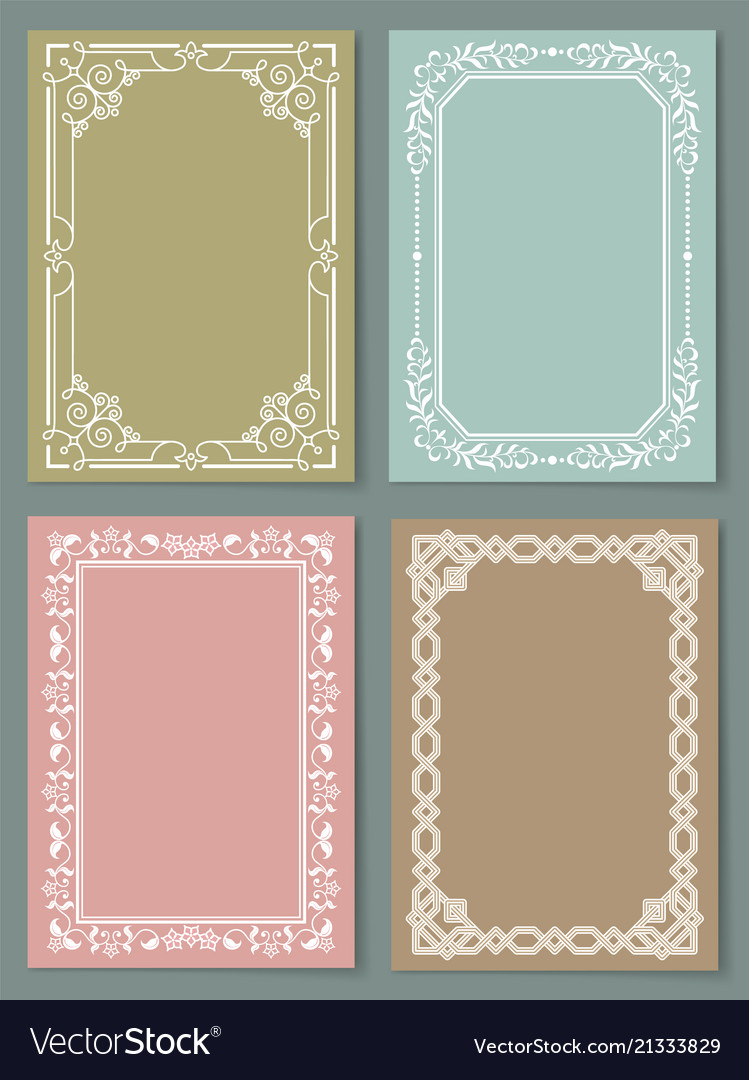 Set of vintage frames decorative border corners