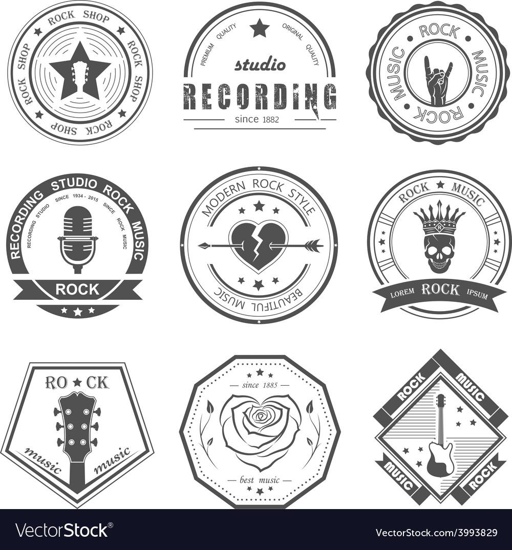 Set of vintage logos of rock music vector image