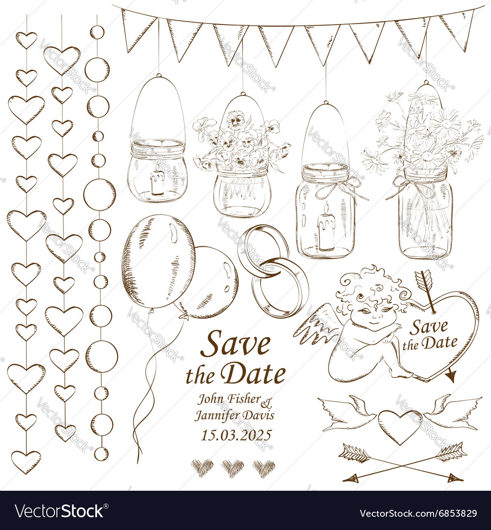 Set of wedding decoration elements royalty free vector image set of wedding decoration elements vector image junglespirit Gallery