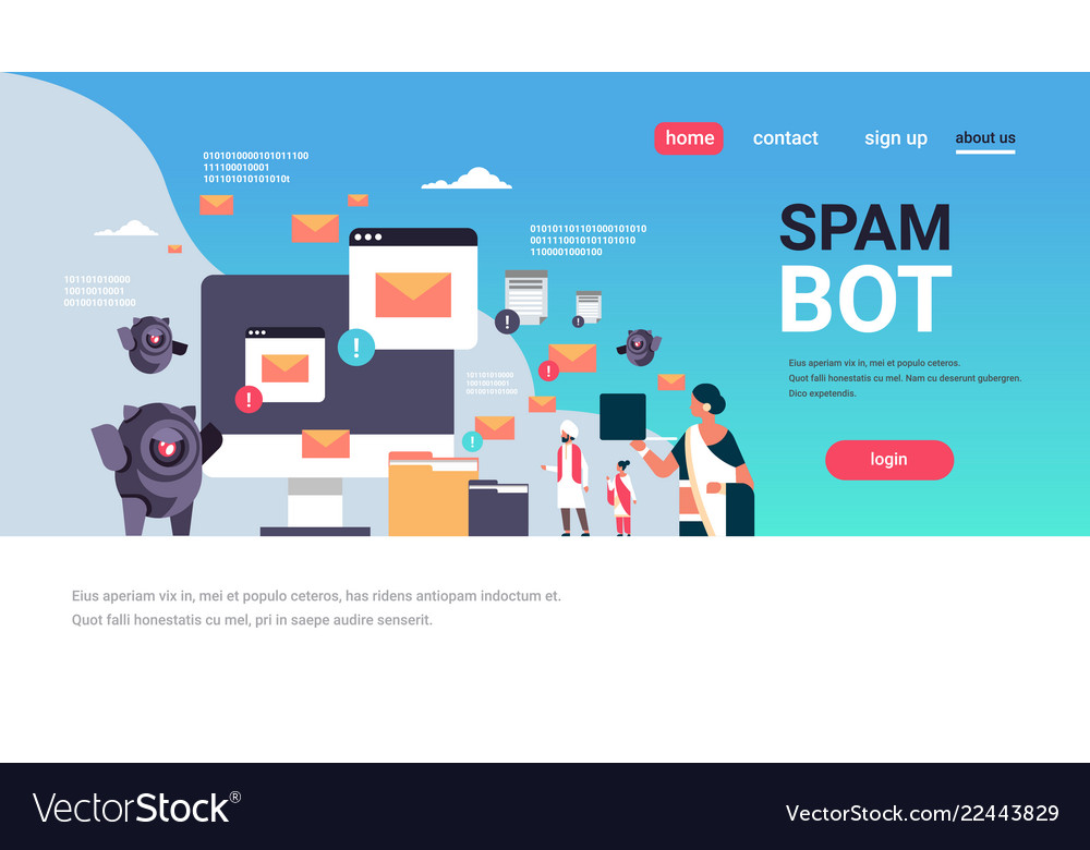 Spam bot email spamming attack robot computer vector image