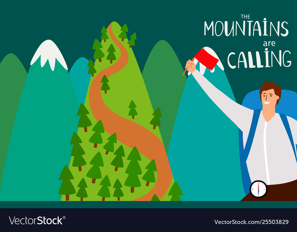The mountains are calling flat background