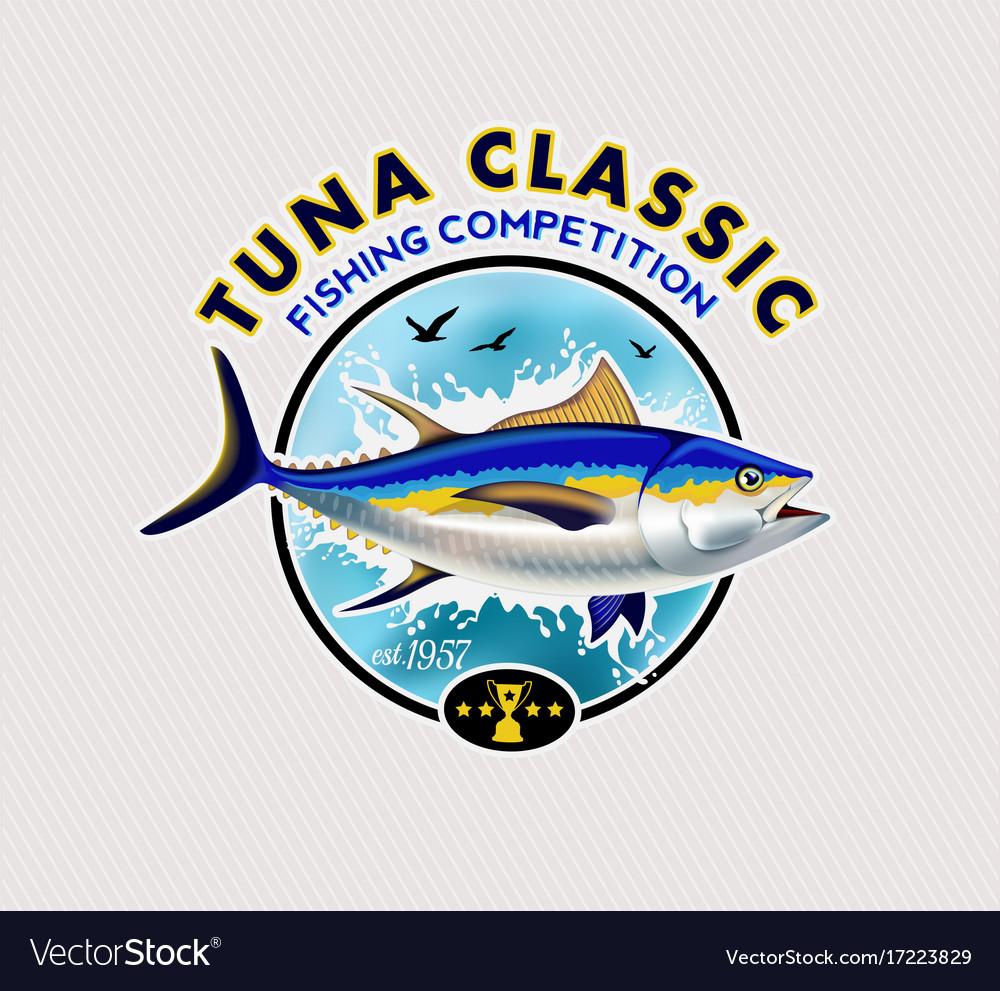 Tuna fishing logos vector image