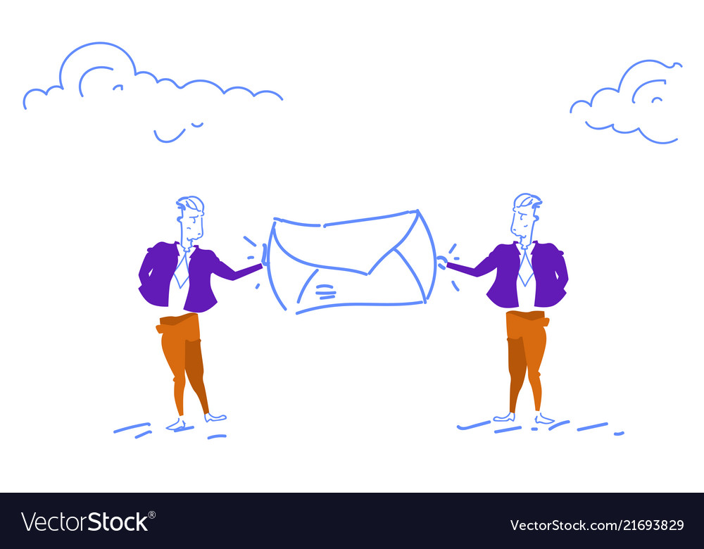 Two businessman holding mail envelope people chat