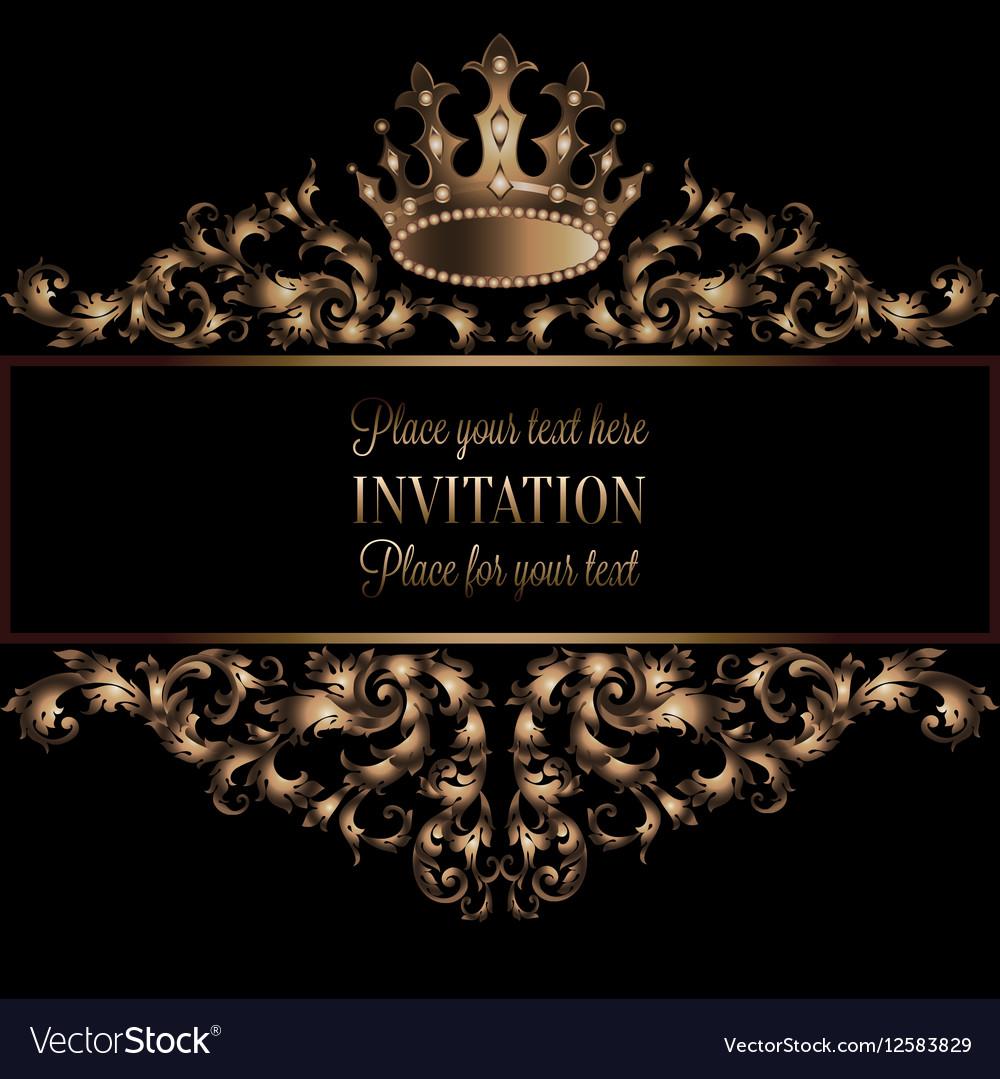 Vintage gold invitation card with black background