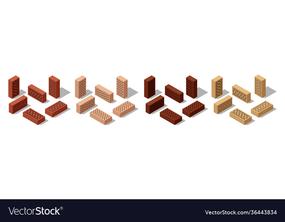 3d isometric bricks isolated bricks for wall