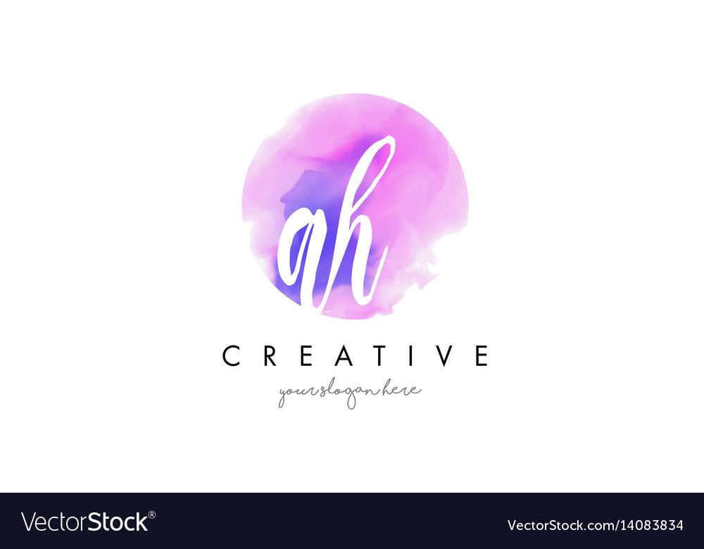 Ah watercolor letter logo design with purple