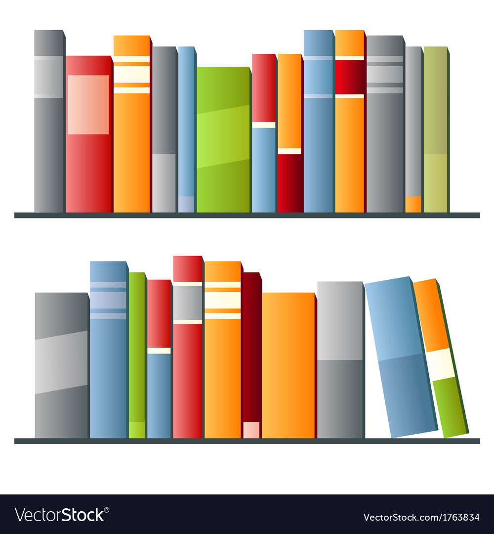 Books in a row on white background vector image