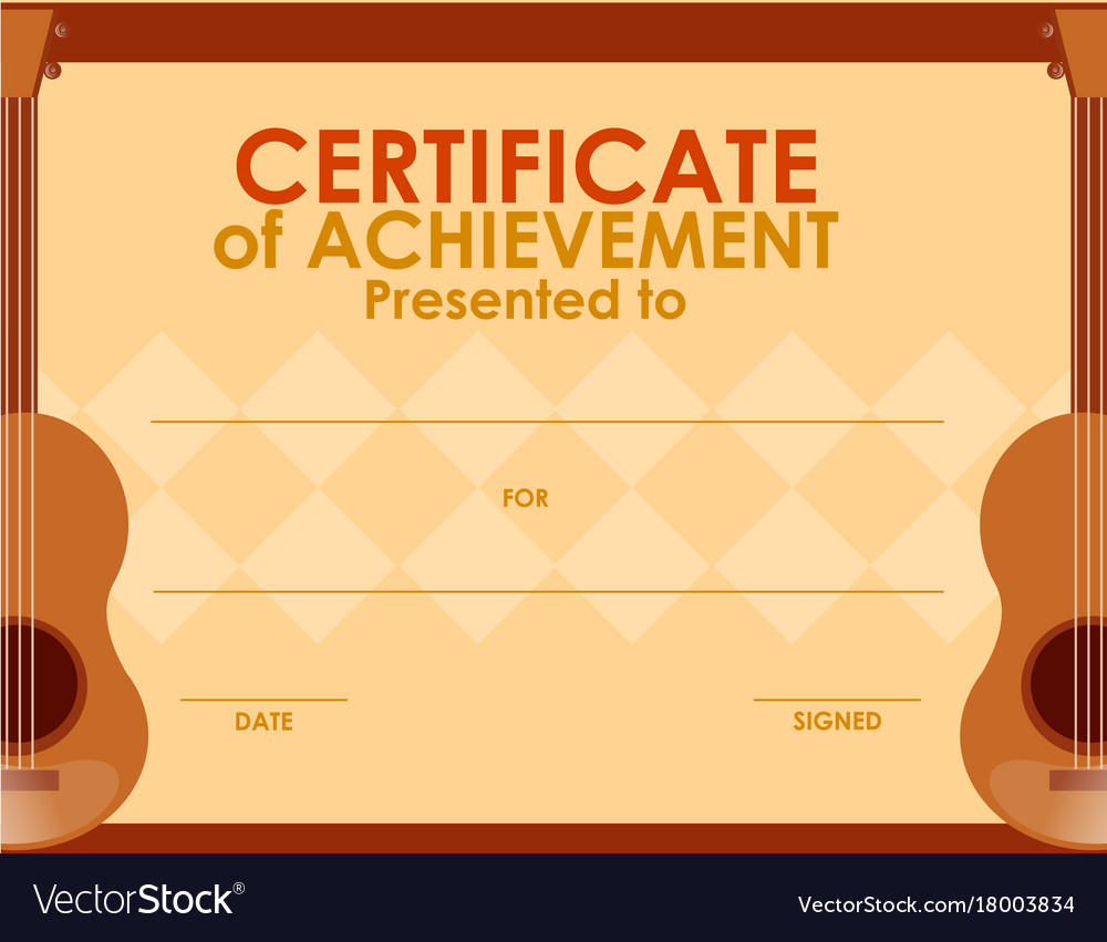 Certificate Template With Guitar Royalty Free Vector Image