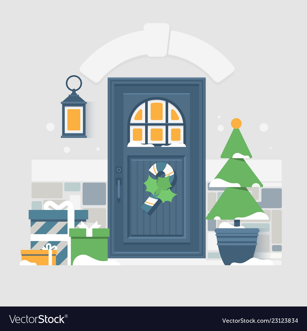 House door decoration for christmas holidays