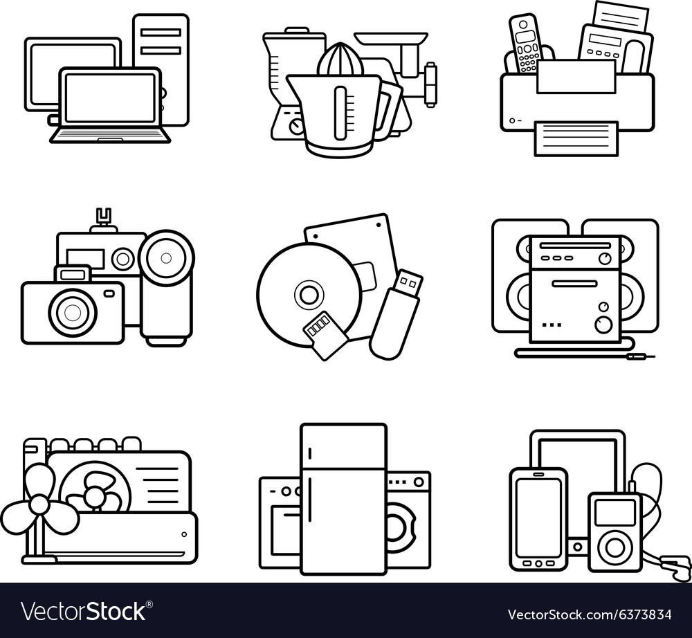 Household appliances line art icons set vector image