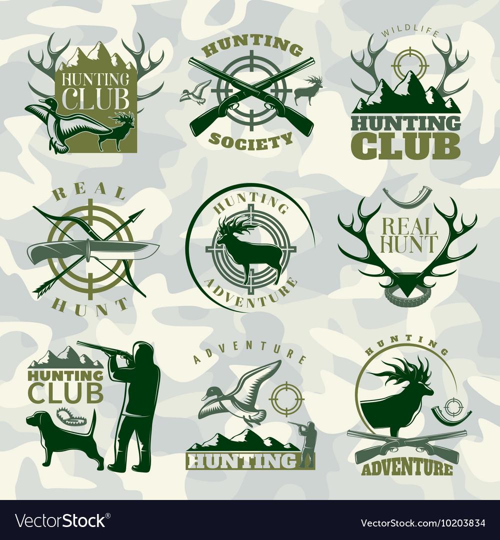 Hunting Emblem Set In Color