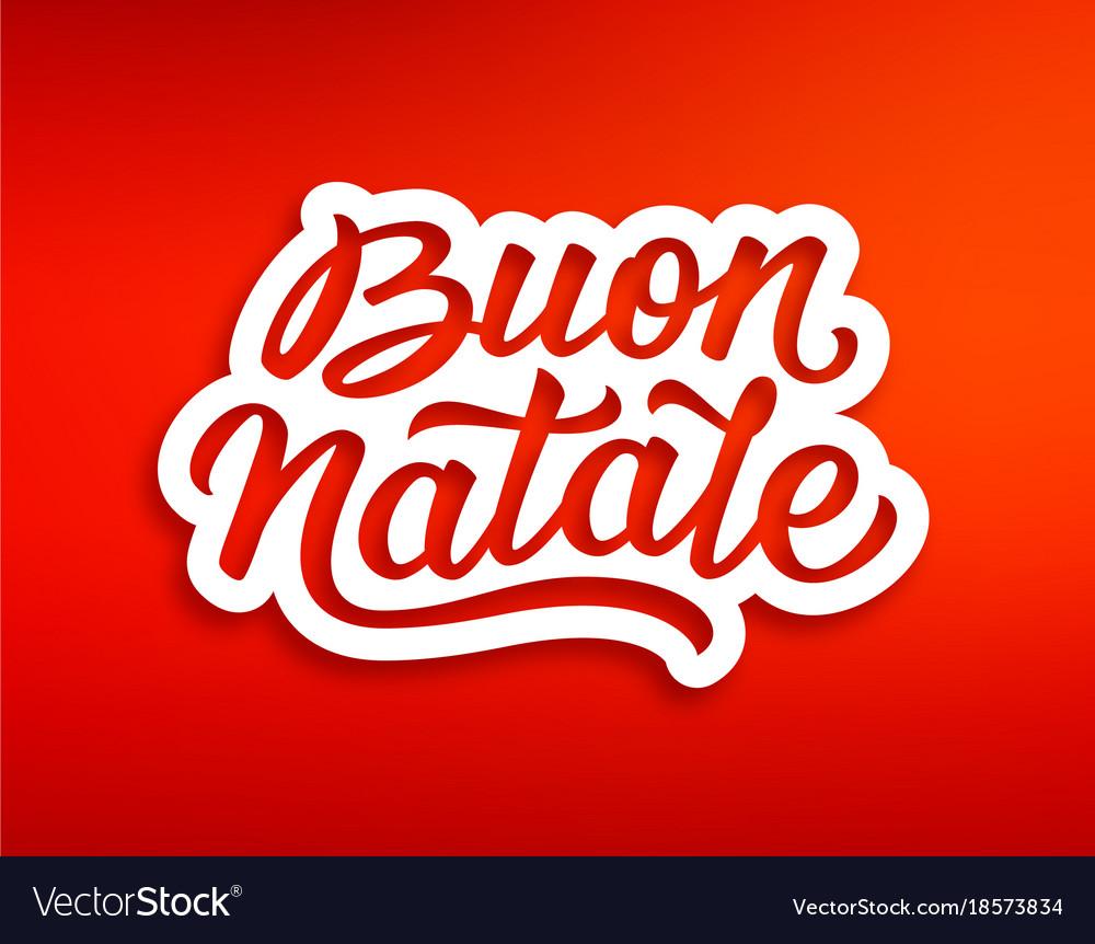 Merry Christmas Text In Italian Season Greetings Vector Image