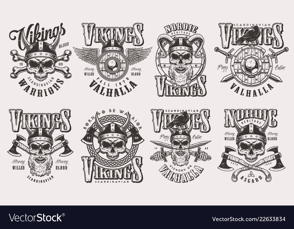 Vintage monochrome viking labels set