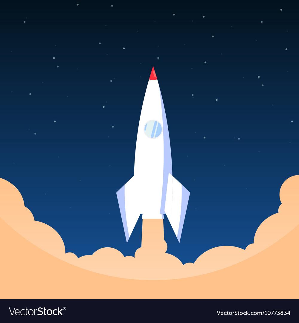 White rocket in flat style