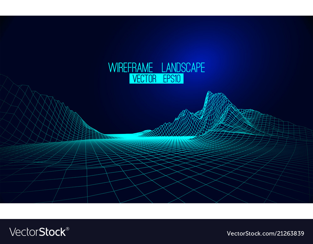 Abstract wireframe landscape background