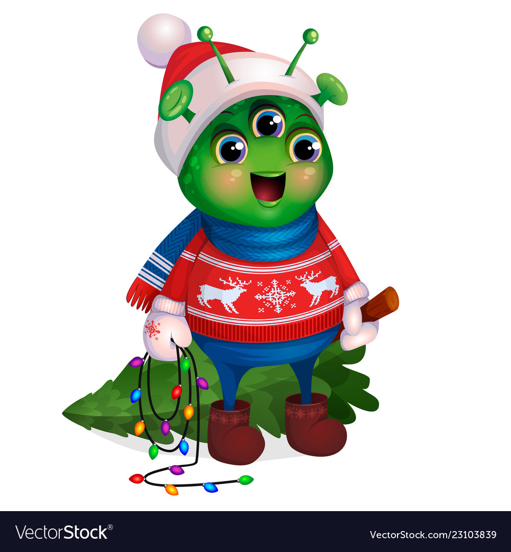 Alien in sweater holding christmas tree new year