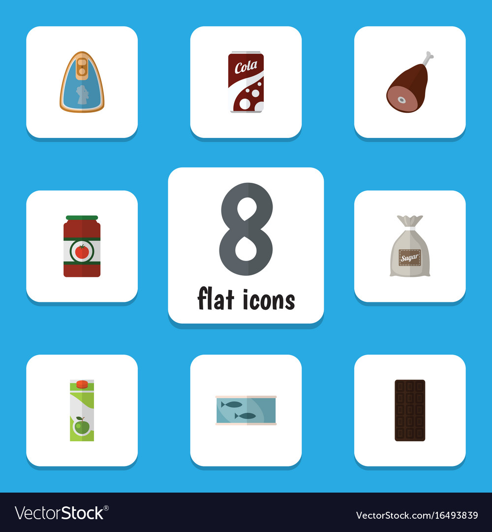 Flat icon food set of canned chicken ketchup vector image