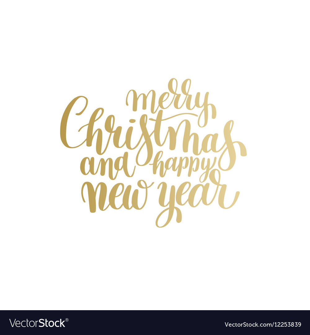 golden merry christmas and happy new year vector image vectorstock