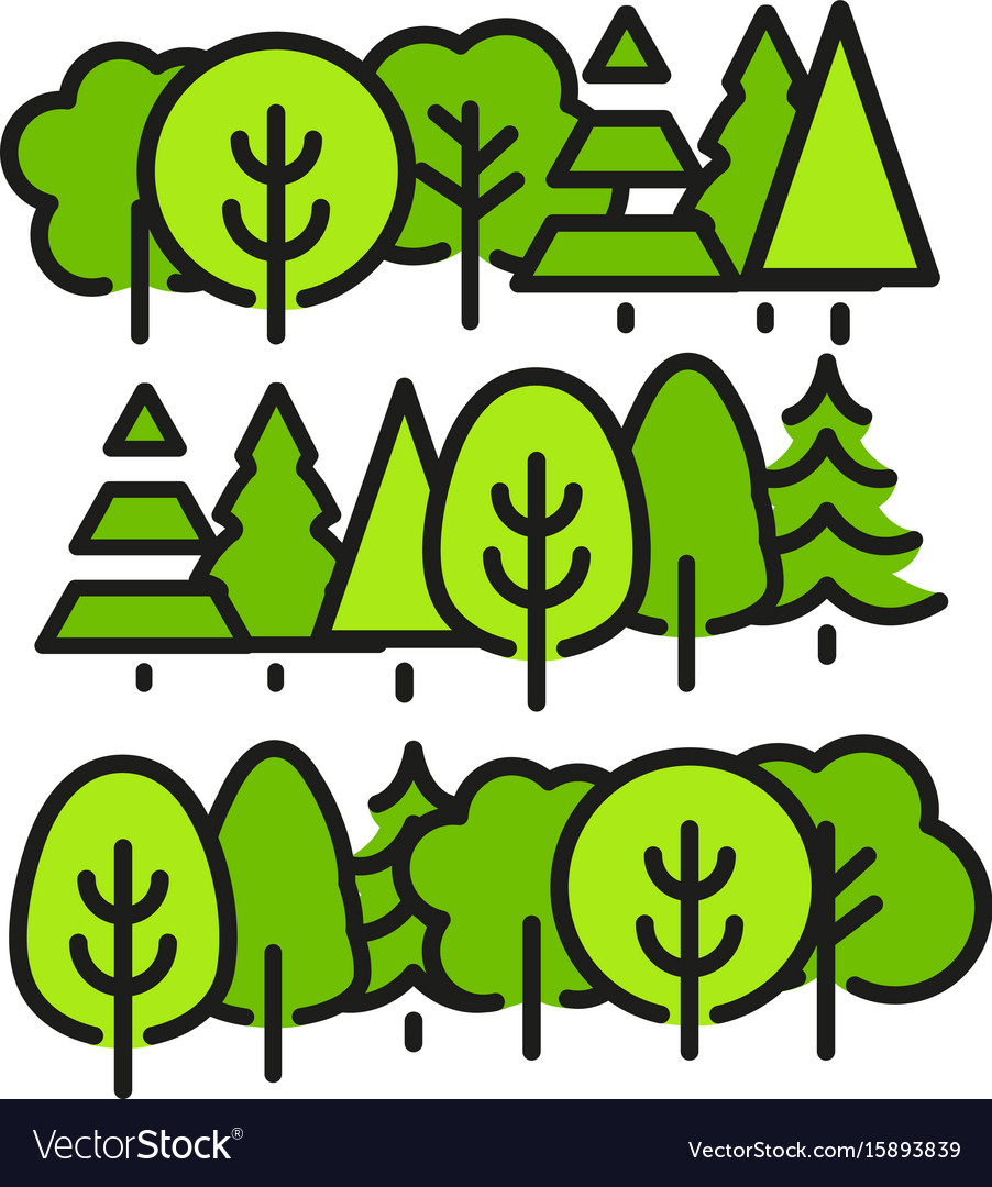 Isolated green color trees in lineart style set
