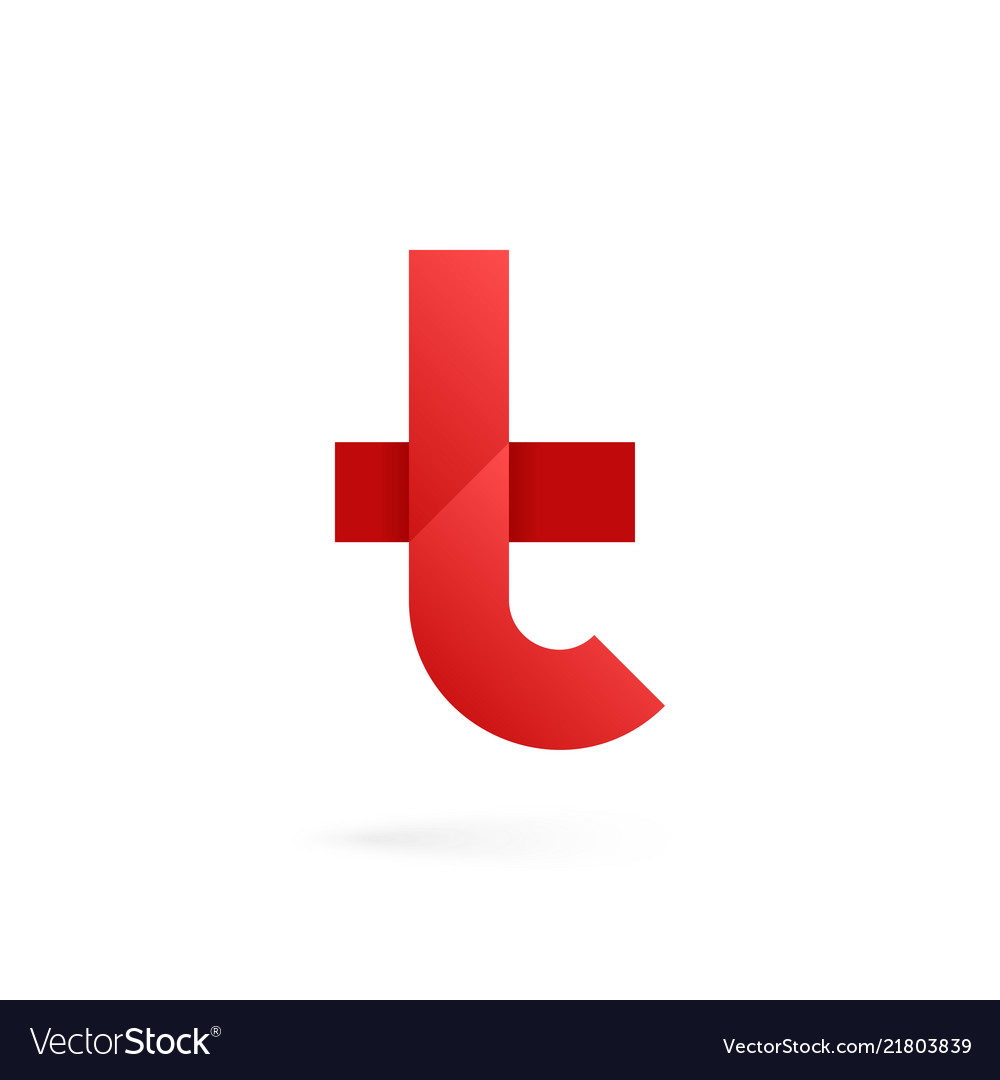 Letter t logo on white alphabet background