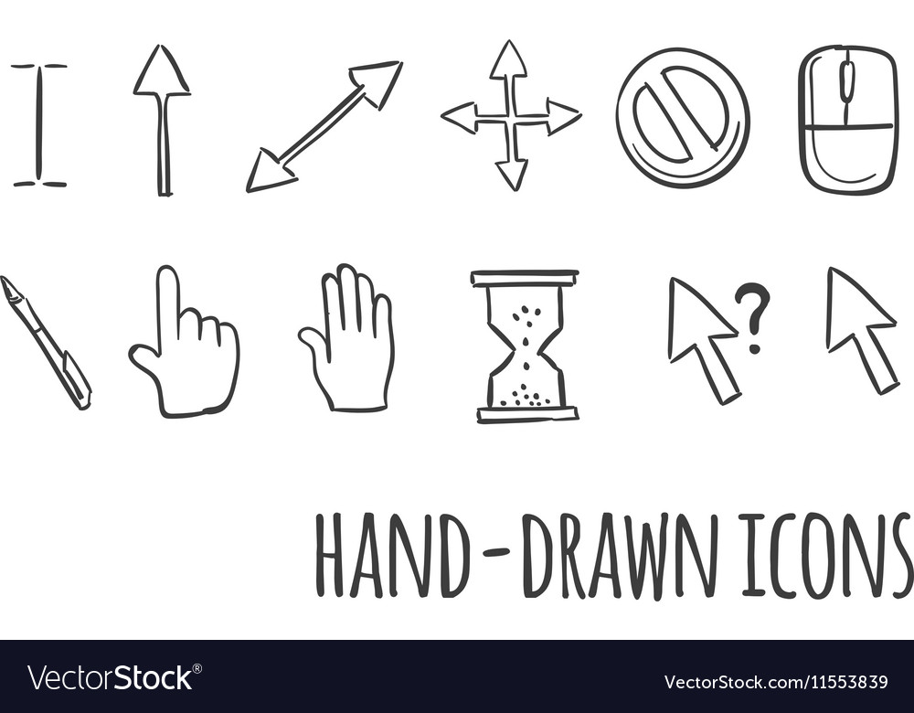 Mouse click hand drawn icons