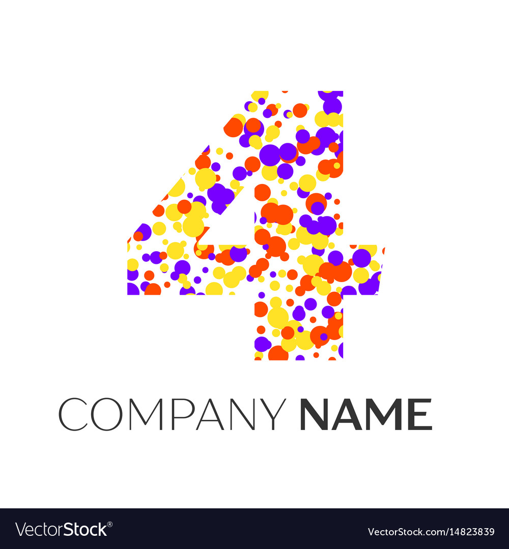 Number four logo with purple yellow particles vector image