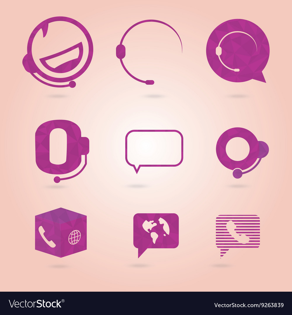 Polygonal icons for call center or hotline support