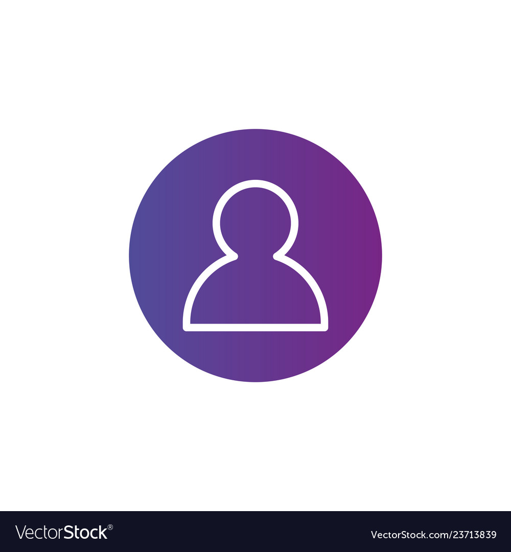 Purple linear outline person icon user icon in