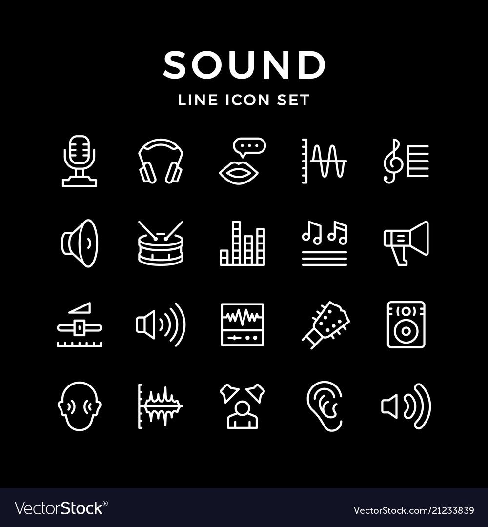 Set line icons of sound