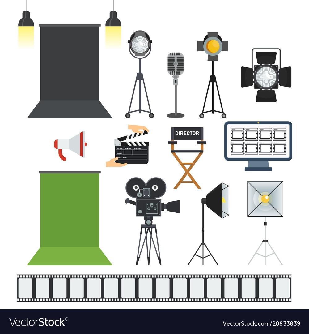 Video porodaction studio objects icons