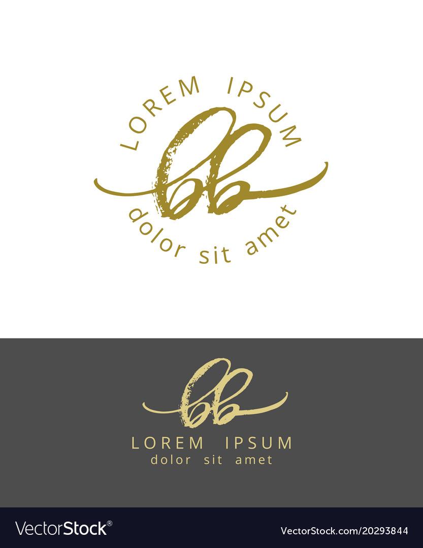 B b initials monogram logo design dry brush vector image